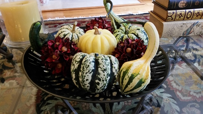 display of gourds massed in a shallow bowl--On Board With The Gourd--How To Preserve And Display Pumpkins